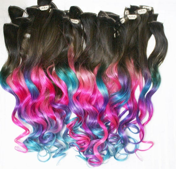 Ombre Dip Dyed Hair, Clip In Hair Extensions, Tie Dye Tips, Brunette Hair,  Hair Wefts, Human Hair Extensions, Hippie hair