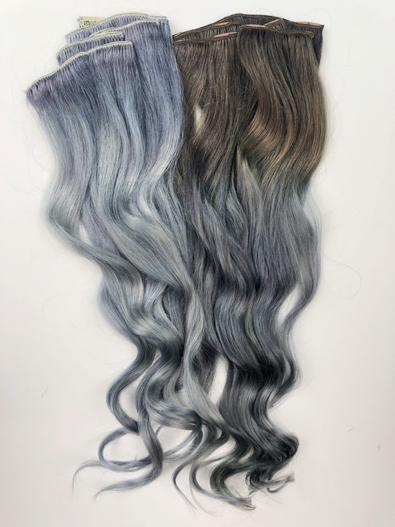 Ready To Ship Full Set Mixed Grey Silver Ombre Hair Etsy