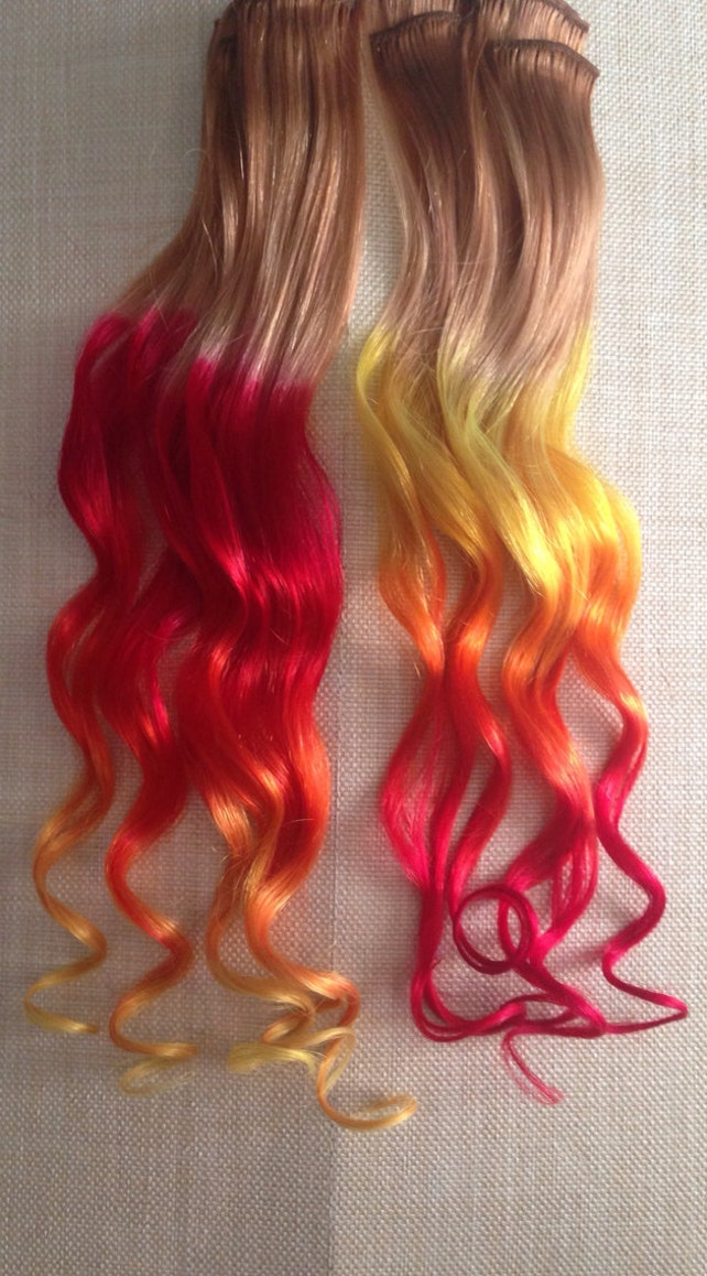 Burning Man Fire Ombre Hair Extensions Clip In Hair Etsy