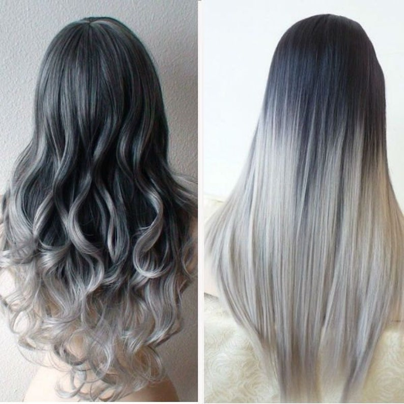 5 Star Seller Black To Grey Ombre Hair Extensions Silver Etsy