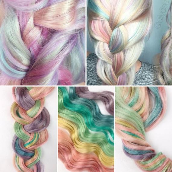 Rainbow Pastel Clip In Hair Extensions Pink Hair Hair Weave Etsy