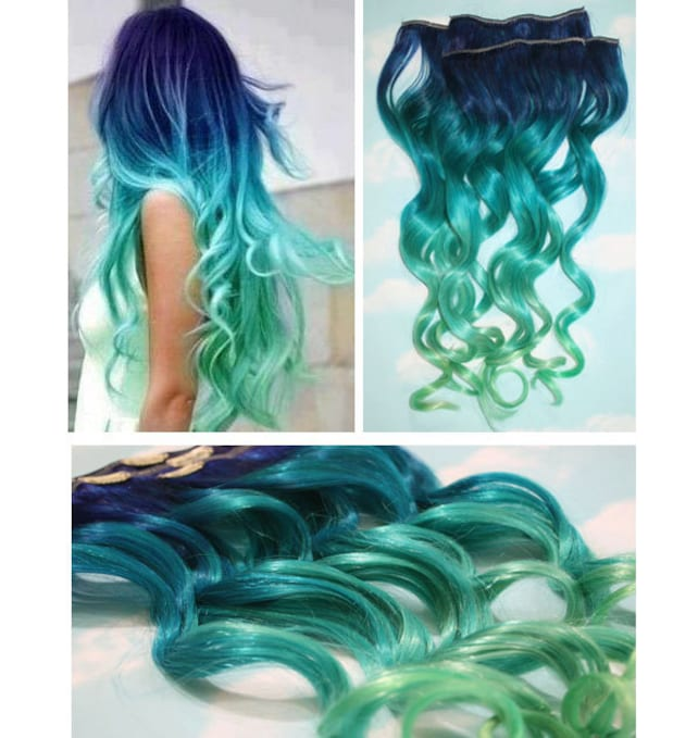 Blue Lagoon Blue Green Ombre Dip Dyed Human Hair Extensions Etsy