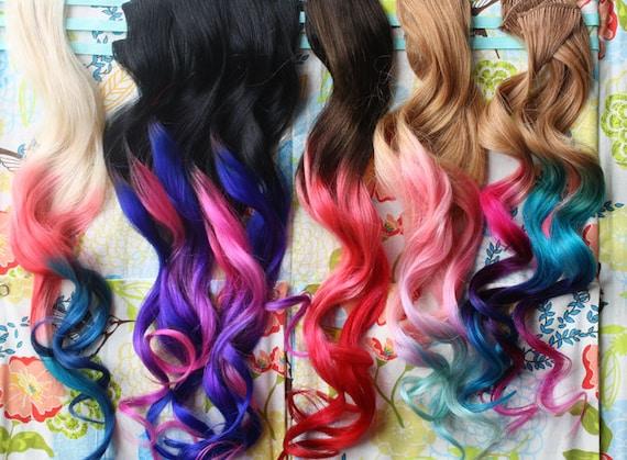Custom Ombre Dip Dyed Hair Clip In Hair Extensions Tie Dye Tips Brunette Hair Hair Wefts Human Hair Extensions Hippie Hair