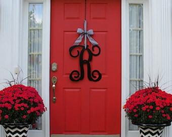 Gentil Monogram Letter   Initial Letter   Monogram Door Hanger   Front Door Wreath