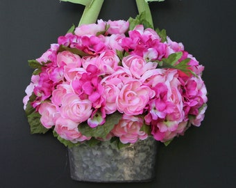 Wreath - Spring Wreath - Mothers Day Gift - Pink Wreath - Flower Basket