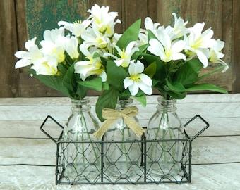 Bottle Vase Decoration - Floral Decoration - Farmhouse Decor - Jar Centerpiece