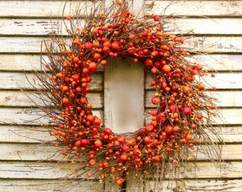 Pumpkin Wreath - Fall Door Wreath - Orange Berry Wreath - Many Color Combos