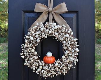 Pumpkin Wreath - Cream Berry Wreath - Fall Wreath - Thanksgiving Wreath