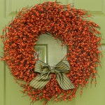 Fall Door Decor - Autumn Door Wreath - Berry Wreath - Orange Door Wreath