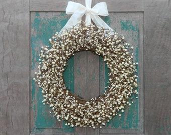 Cream Everyday Wreath - Four Season Berry Wreath - All Season Wreath - Door Wreath - Choose Ribbon and Size - Mother's Day Gift