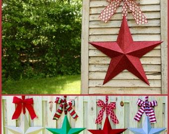 Glitter Star Wreath -Barn Star - Red Star Decor - Patriotic  Wreath - You choose bow - Many Options