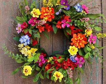 Summer Garden Wreath - Summer Wreath - Garden Party Wreath - Large Floral Wreath