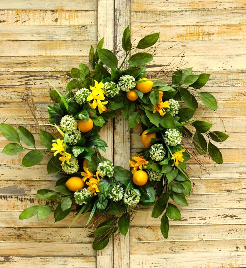 Large Lemon Summer Door Wreath Lemon Floral Wreath Summer Etsy