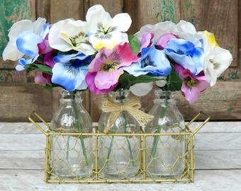Rustic Decor - Rustic Jar Centerpiece - Bottle Vase - Triple Floral Vase