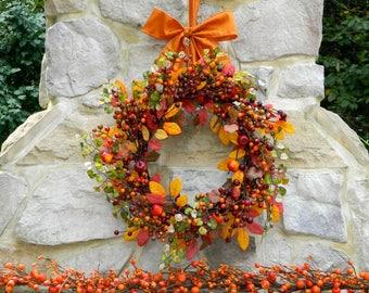 Fall Door Wreath - Autumn Berry Wreath - Orange Berry Wreath