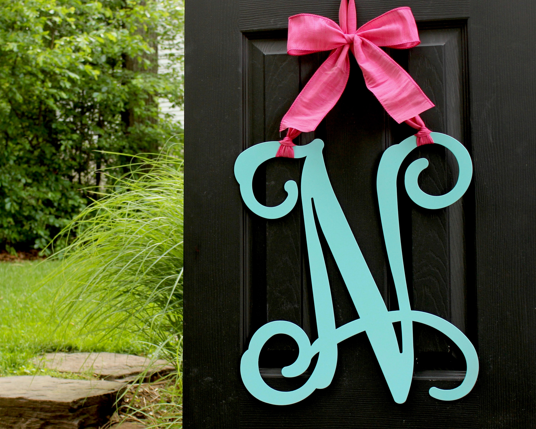 Monogrammed Door Hanger Letter V Mom Gift Black and Burlap Everyday Year Letter Door Hanger