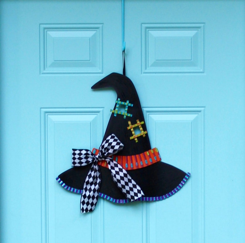 Halloween Door Hanger  Witches Hat Wreath  Fall Wreath  image 0