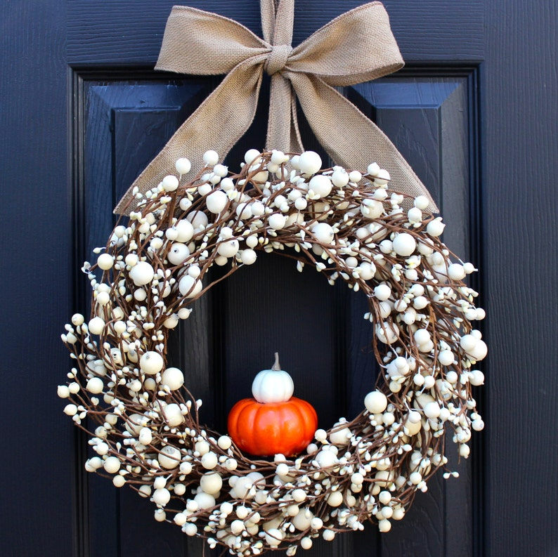 Give Thanks Wreath  Cream Berry Wreath  Fall Wreath  image 0