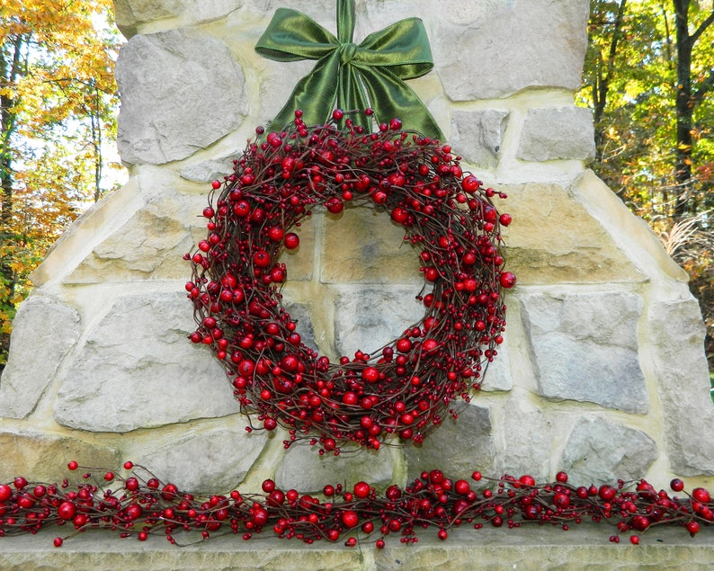 Red Berry Christmas Wreath  Holiday Wreath  Red Wreath  image 1