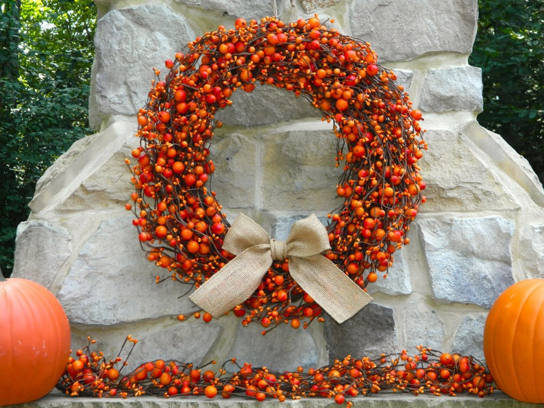 Berry Wreath  Fall Door Wreath  Thanksgiving Wreath  Many image 0