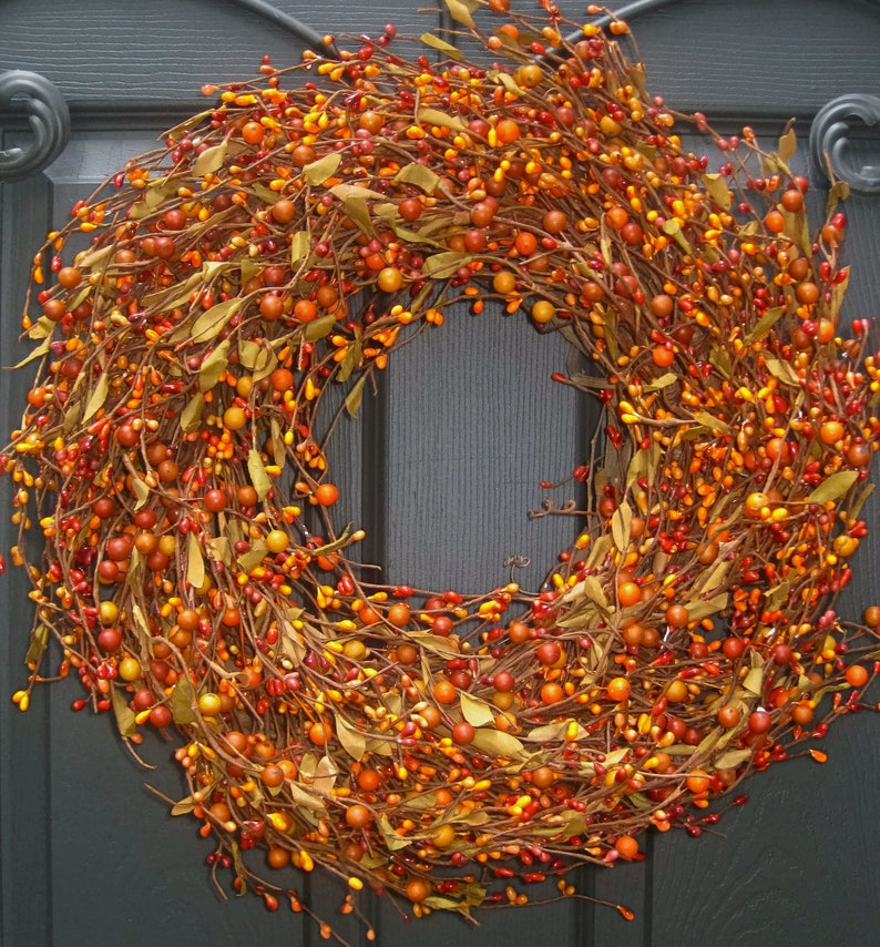 Fall Wreath   Berry Wreath   Autumn Wreath  Outdoor Wreath image 0
