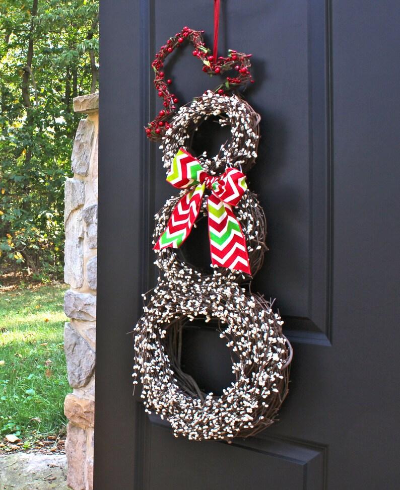 Snowman Wreath Christmas Wreath Chevron Wreath Snowmen Wreath Winter Wreath