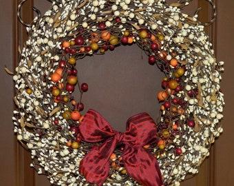 Outdoor Wreath - Fall Door Wreath - All Season Wreath