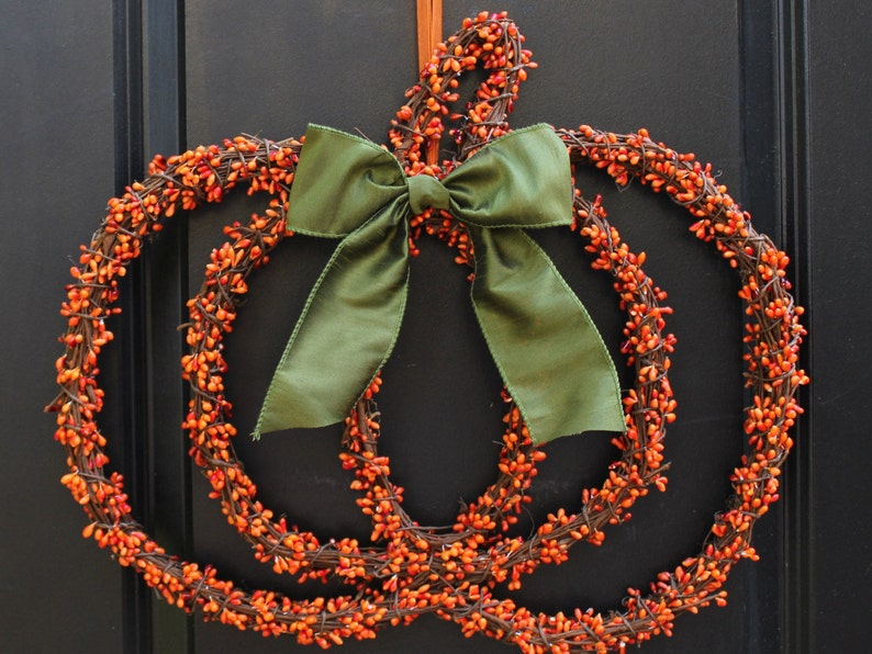Pumpkin Wreath  Fall Wreath  Berry Wreath  Halloween Wreath Orange