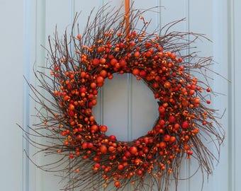 Fall Farmhouse Wreath - Rustic Orange Wreath - Choose Berry Color