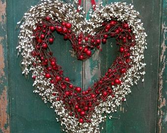 Heart Wreath - Valentine Wreath - Heart Wreath - Valentine Gift -