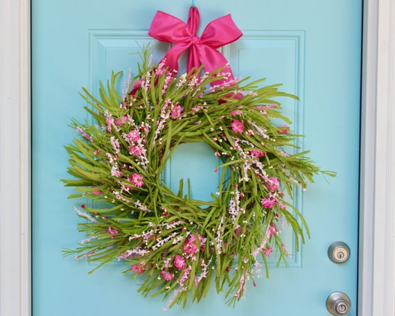 Summer Door Wreath Green And Pink Forsythia Wreath Spring Etsy
