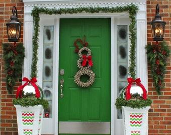 Christmas Wreath - Snowman Wreath - Chevron Wreath - Christmas Decor - Choose Bow