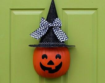 Halloween Wreath - Halloween Decor - Halloween Door Wreath - Jack O Lantern Decor