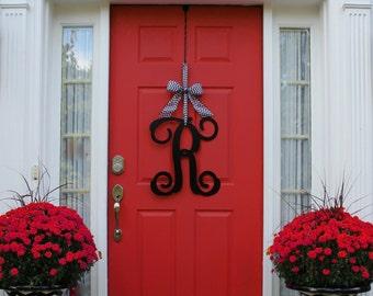 Monogram Wreath - Front Door Wreath - Monogram Decoration - Couples Gift - Choose Bow