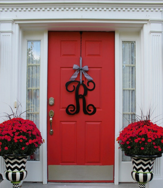 Attirant Monogram Wreath Front Door Wreath Monogram Decoration