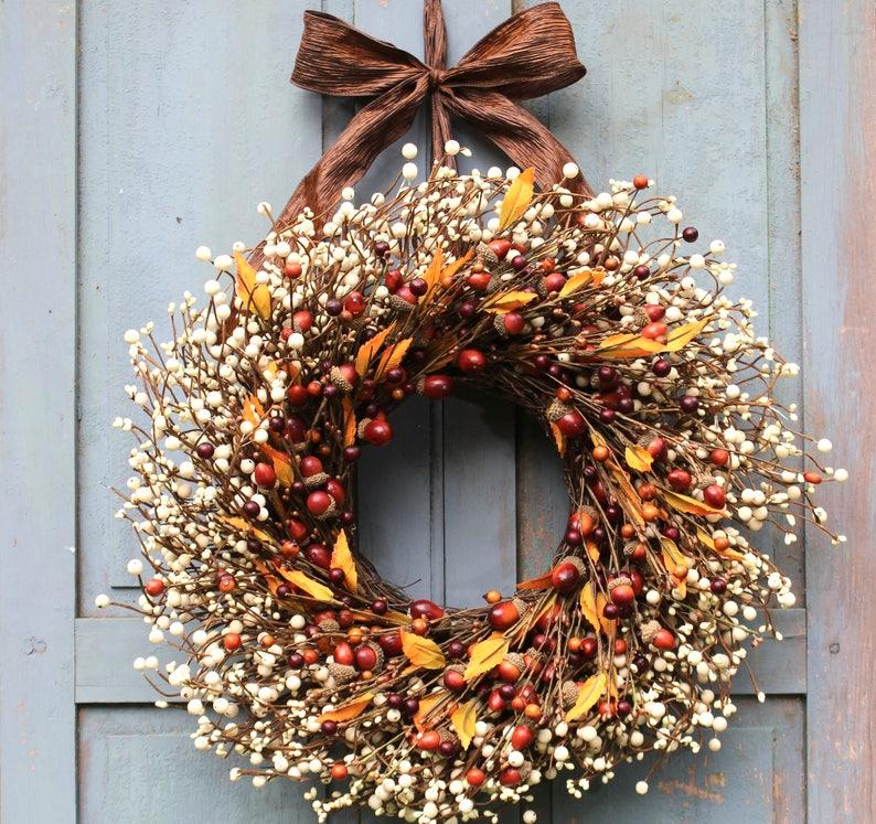 Fall Wreath  Acorn Wreath  Autumn Door Decor  Choose Bow image 0