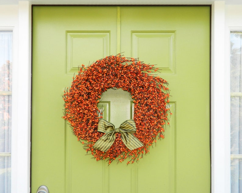 Fall Door Decor  Autumn Door Wreath  Berry Wreath  Orange image 0