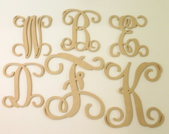 DIY Wood Letter - Wood Initial - Unfinished Vine Script Letter - Gallery Wall Alphabet