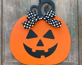 Fall Pumpkin Wreath - Halloween Door Decoration - Jack O' Lantern Wreath