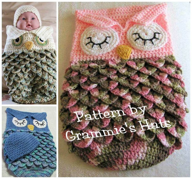 Pattern for Baby owl cocoon  and cap USA English only image 0