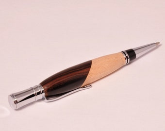 Executive Chrome Twist Pen with Bolivian Rose wood and Maple