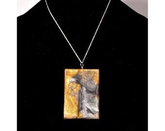 Necklace made with burl and gold and Silver Pearlex, choker style