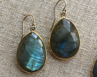 Labradorite or Blue Crystal Dangles