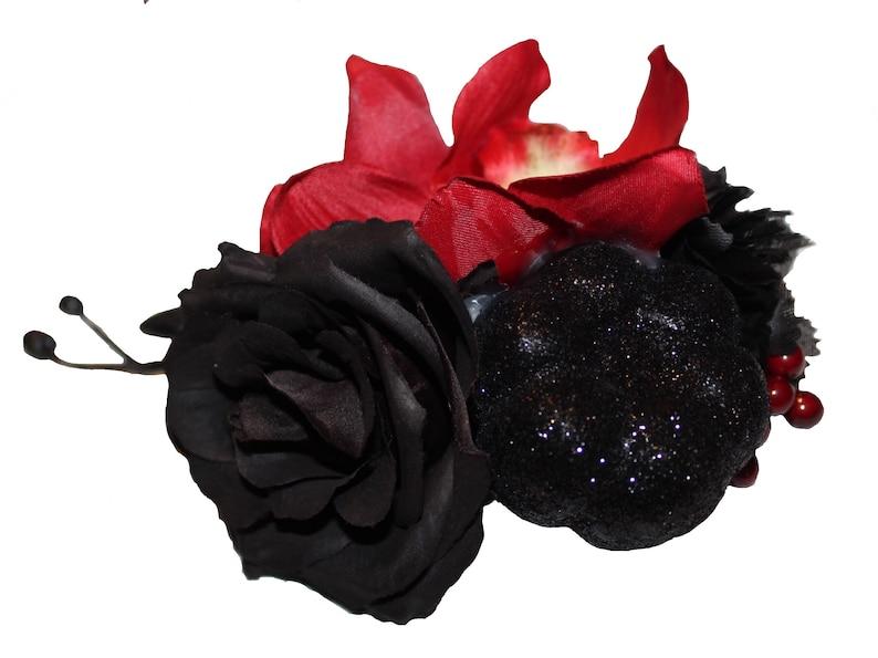 Halloween Black Glitter Pumpkin and Berry Hair Flower