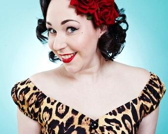 BERNIE Rockabilly Red Velvet Rose Hair Flower Clip