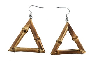 Triangle Bamboo Earrings (Natural and Burnt Wood)