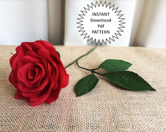 Paper Craft Pdf Pattern DIY Roses Crepe Flowers Tutorial Rose Wedding Flower Bouquet Home Decor