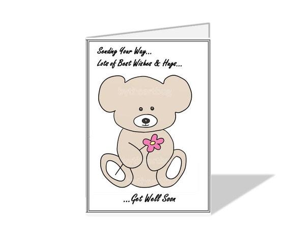 Teddy Bear Get Well Soon Printable Digital Card