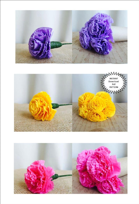 Paper Craft Pdf Pattern Diy Paper Flowers Diy Craft Tutorial Instructions Paper Carnation Wedding Diy Flower Bouquet Party Decor Home Decor