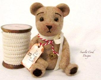 Felted Teddy Bear, Teddy Bear, Teddy Bear Art Doll, Vintage Look Plush Bear, Needle Felted Bear, Fiber Art Toy, Ready to Ship